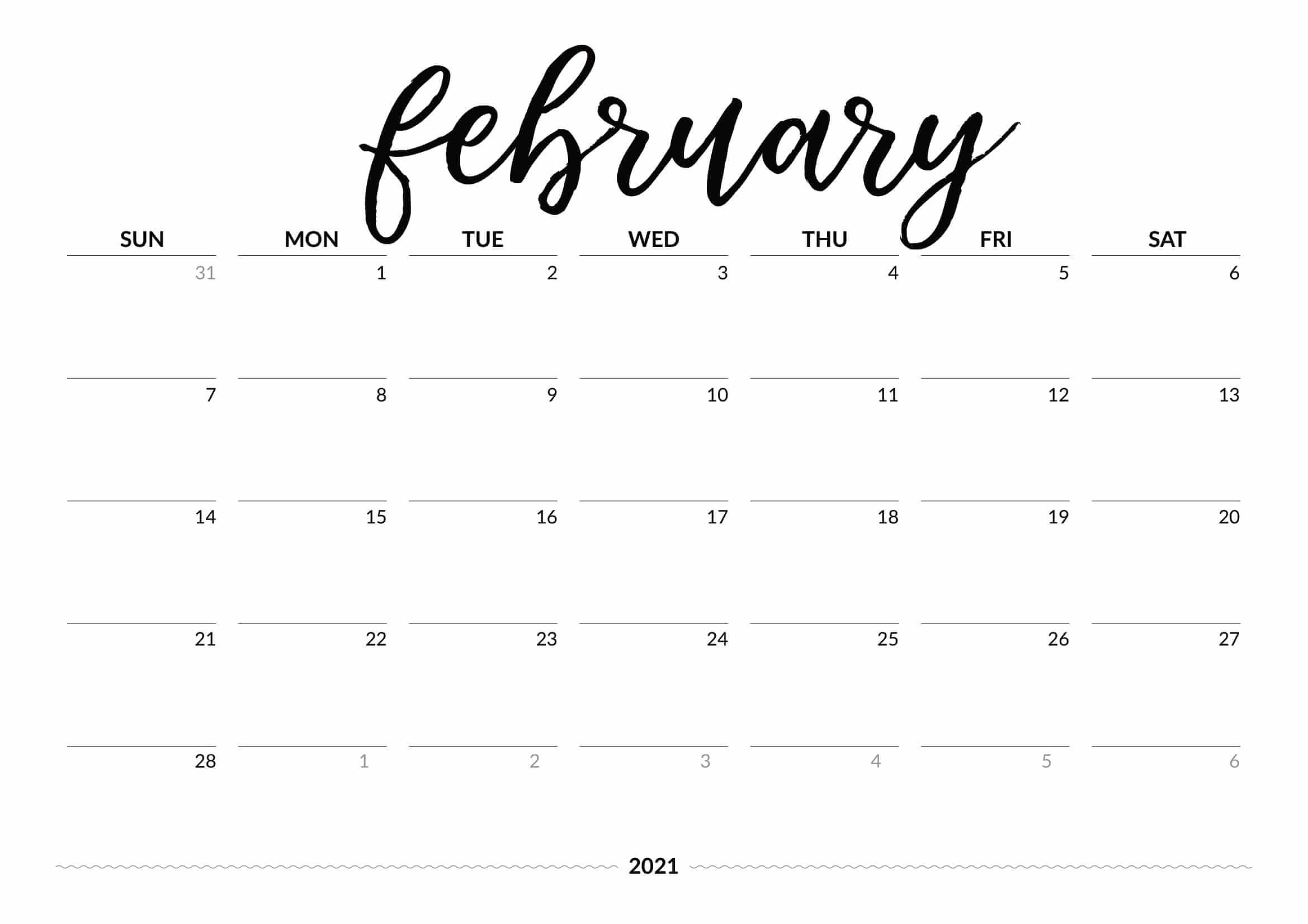 Printable February 2021 Calendar Desk & Wall - Time