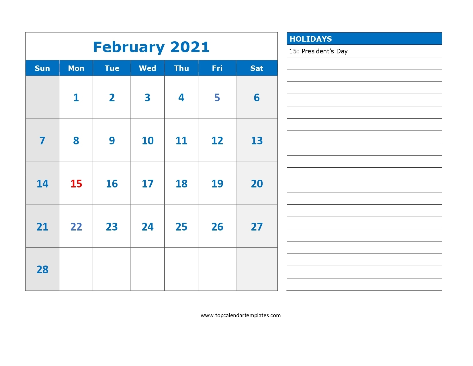 Printable February 2021 Calendar Template - Download Now