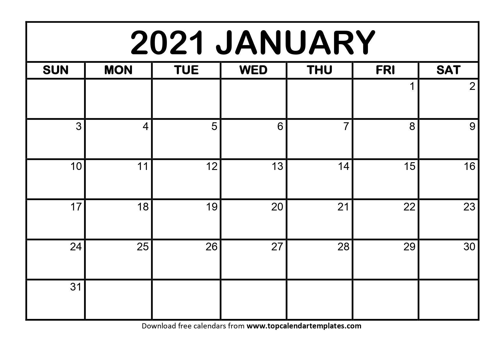 Printable January 2021 Calendar Template - Download Now