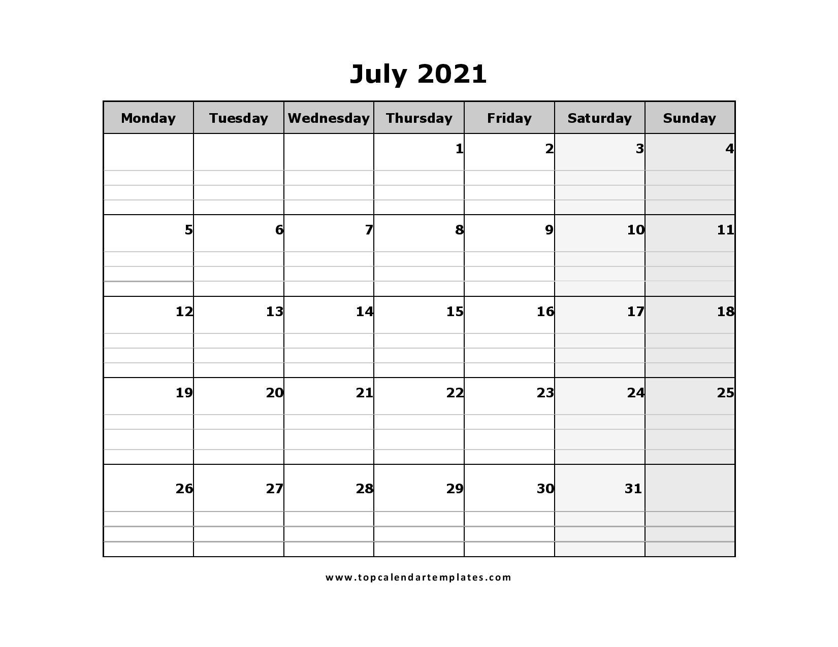 Printable July 2021 Calendar Template - Pdf, Word, Excel