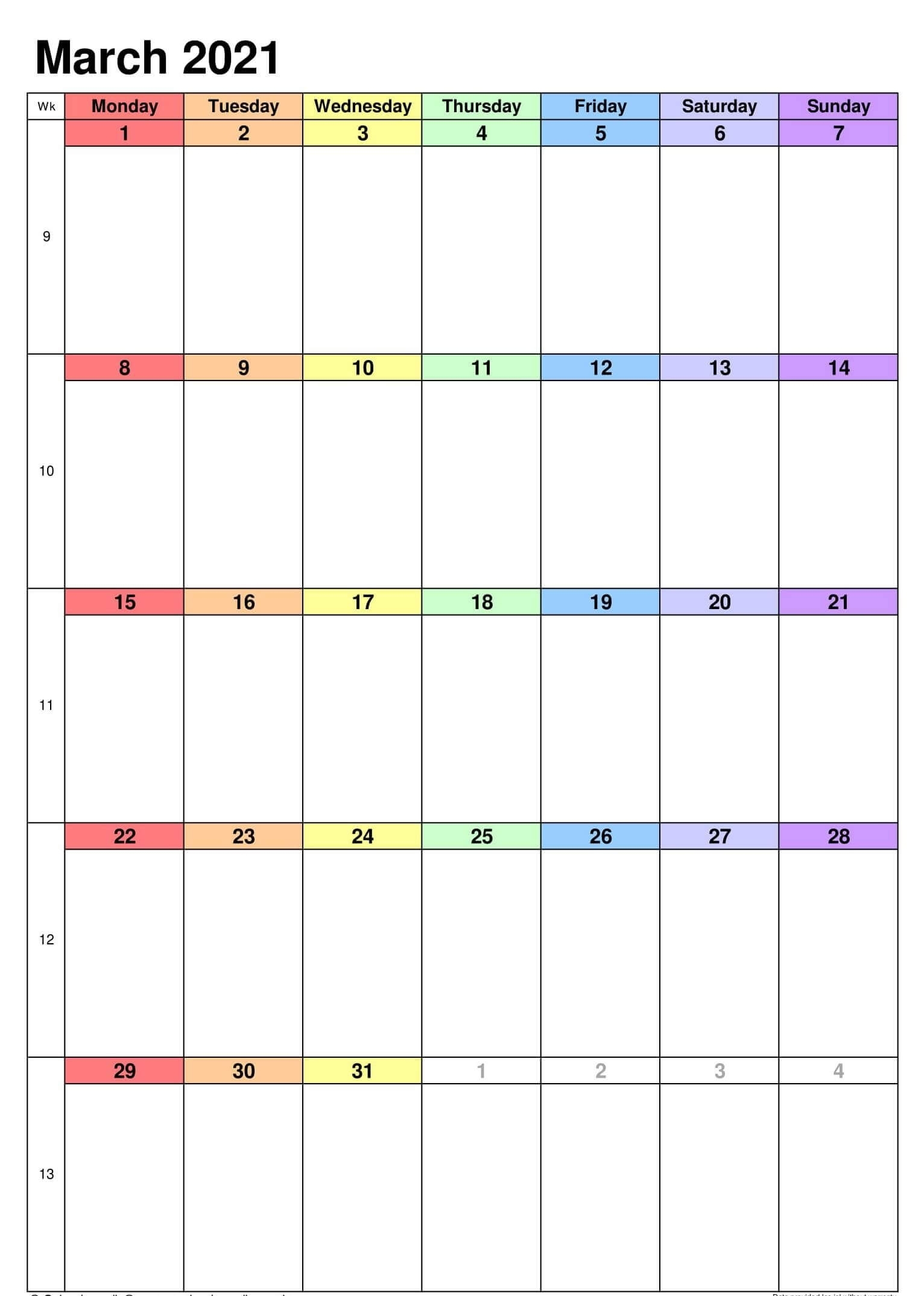 Printable March 2021 Calendar Holidays Template - One