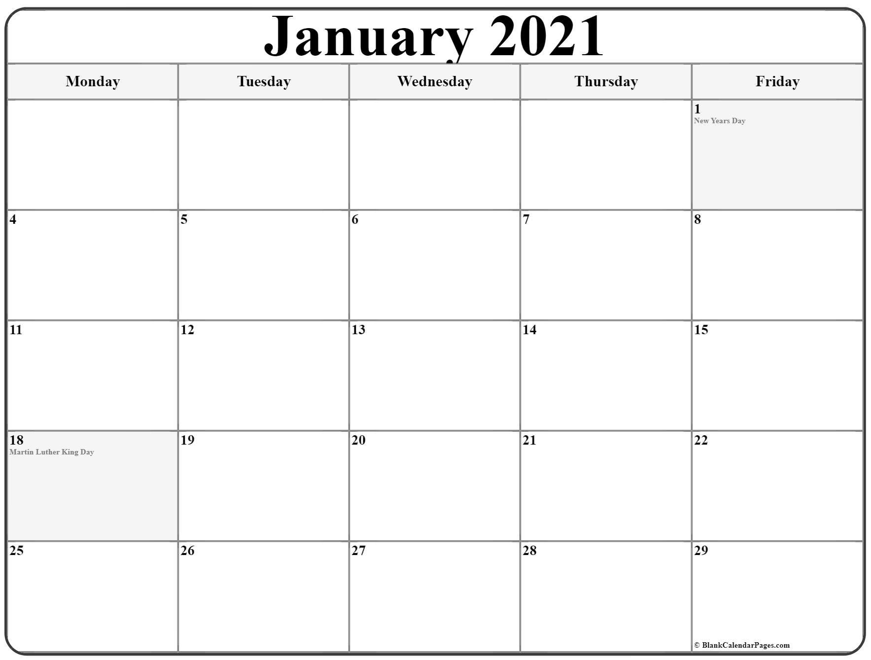 Printable Monday Through Sunday Calendar 2021   Best