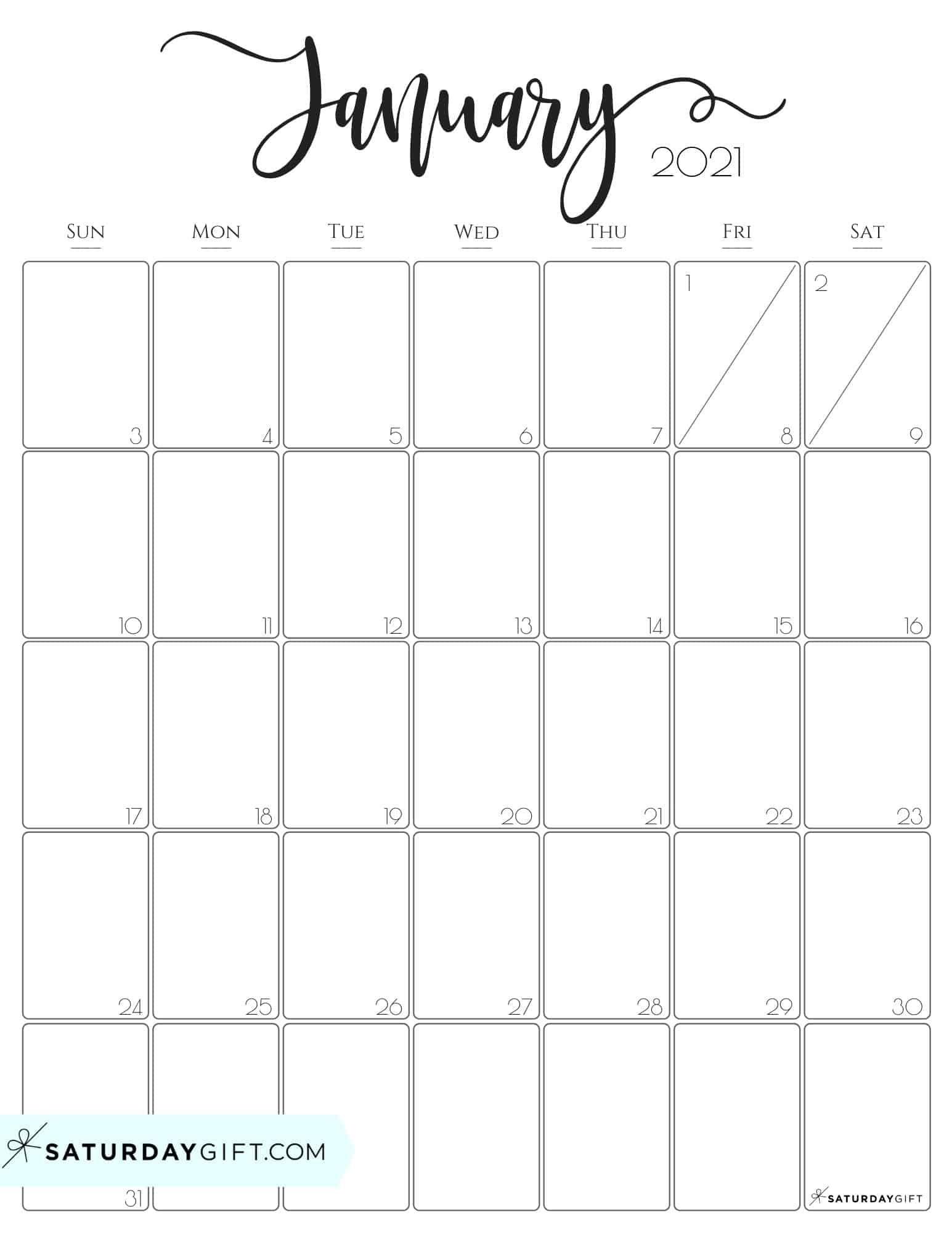 Printable Month Of January 2021 Calendar | Free Printable