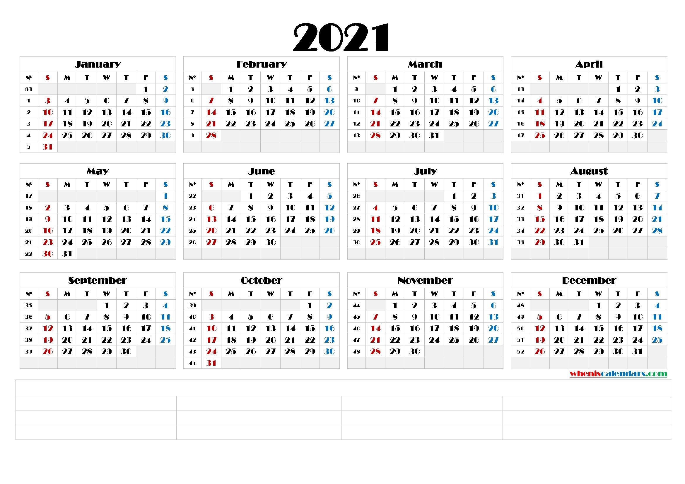 Printable Monthly 2021 Calendar Template Word : Printable