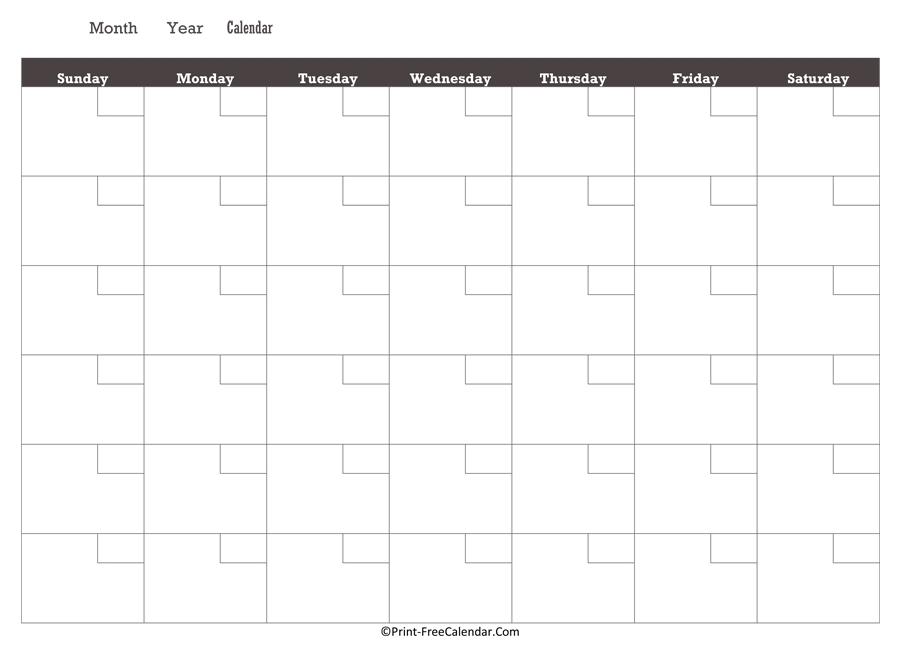 Printable Monthly Calendar 2021