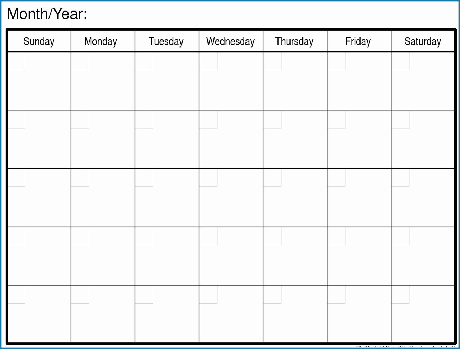 Printable Monthly Calendar Monday Start | Calendar