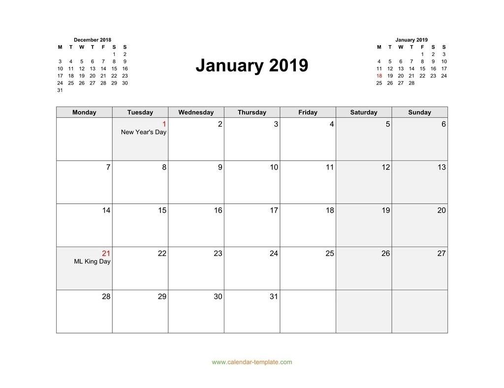 Printable Monthly Calendar Starting On Monday | Calendar