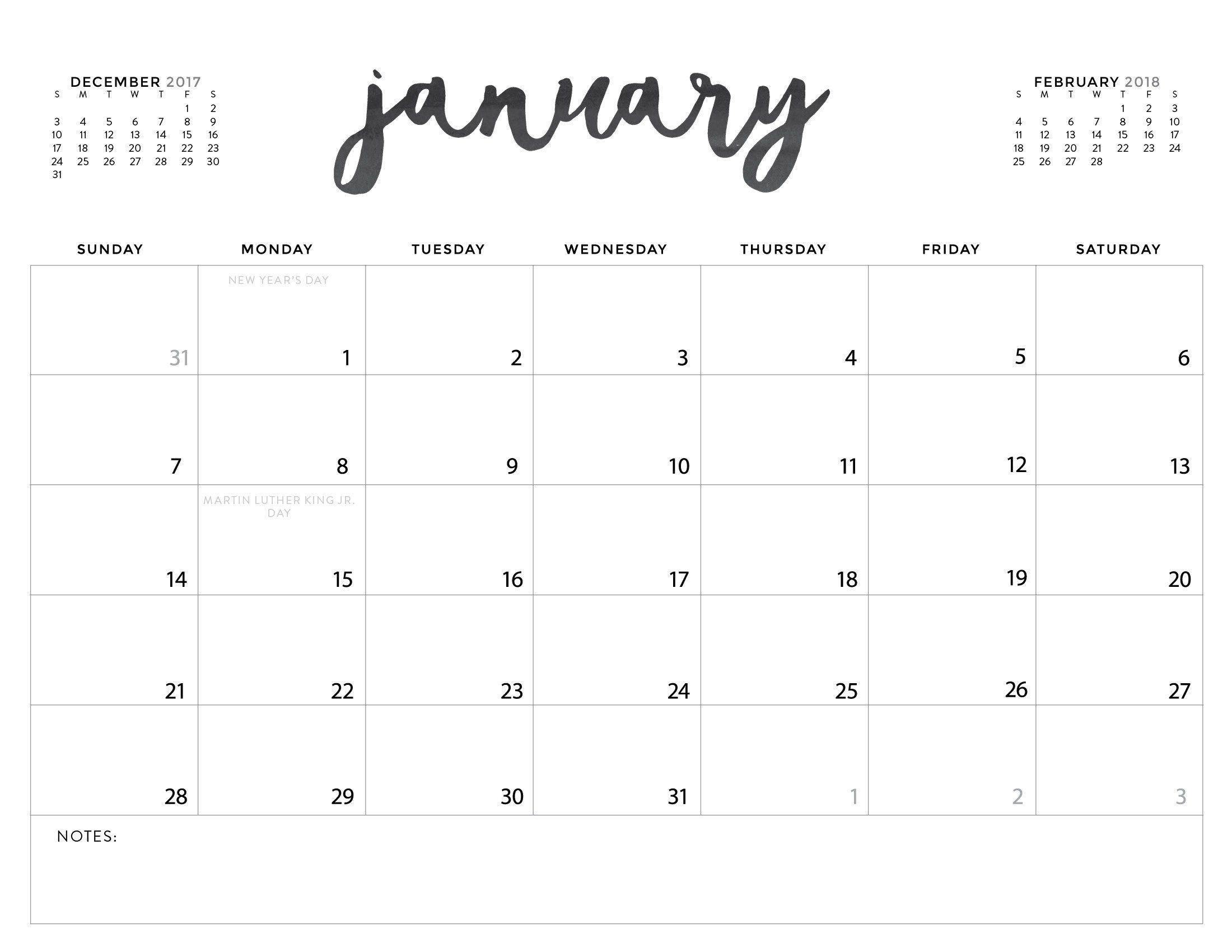 Printable Monthly Calendars Large Box | Ten Free Printable