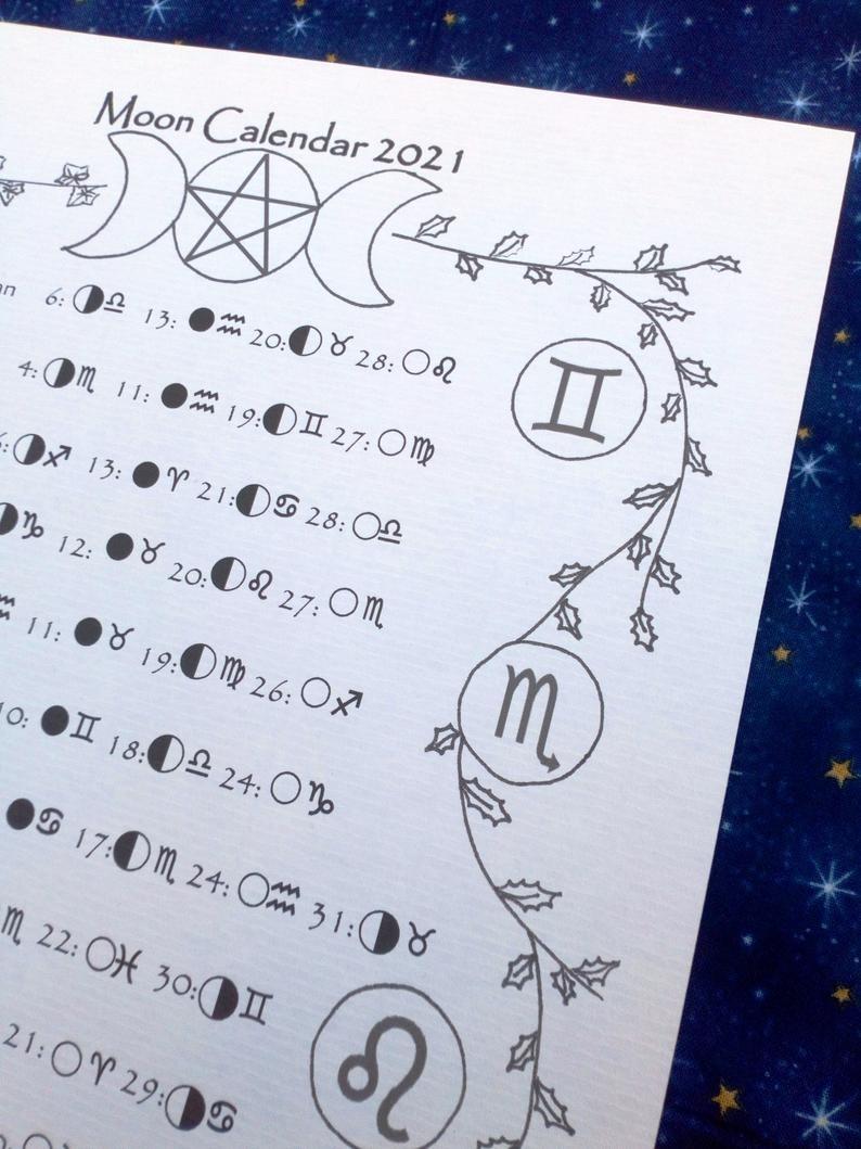 Printable Moon And Zodiac Calendar 2021 Moon Phase