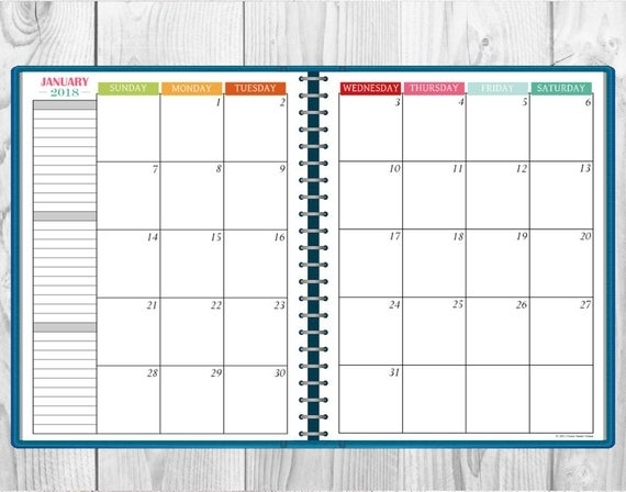 Printable Multi-Color 2018 Monthly Calendar Two-Page Spread