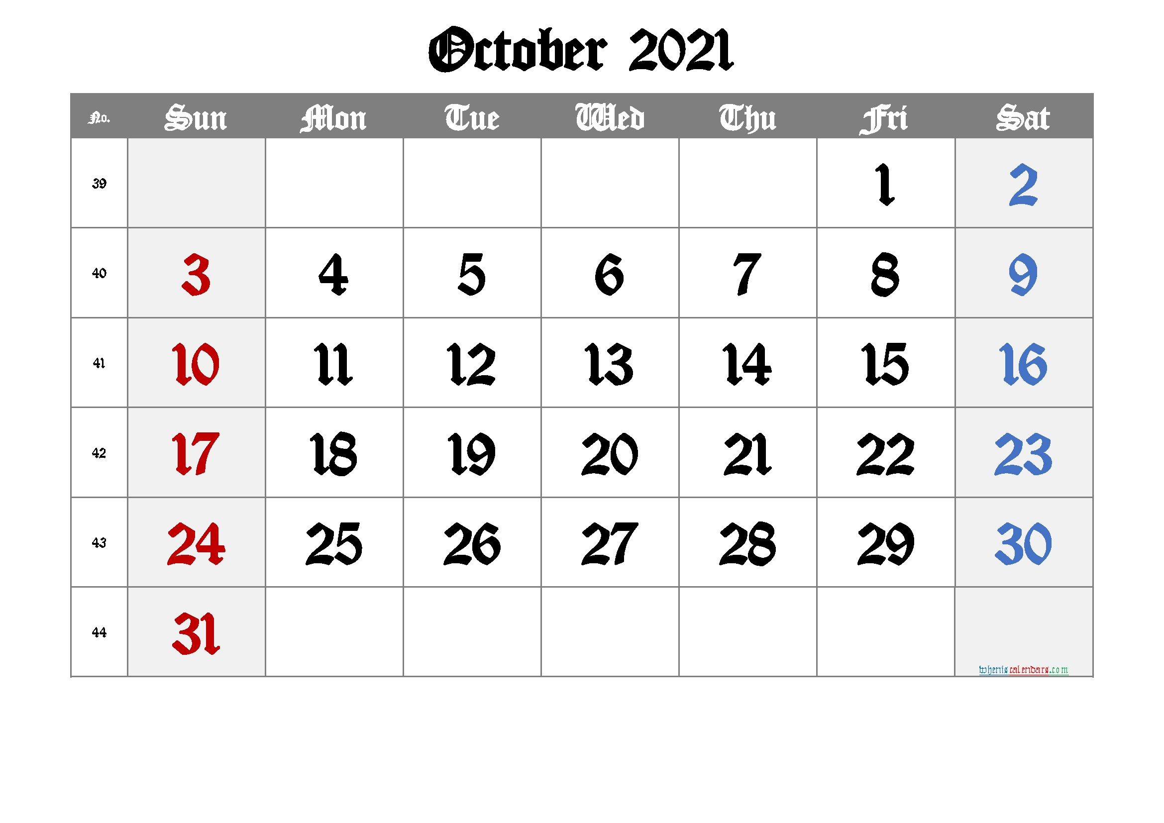 Printable October 2021 Calendar [Free Premium] - Free