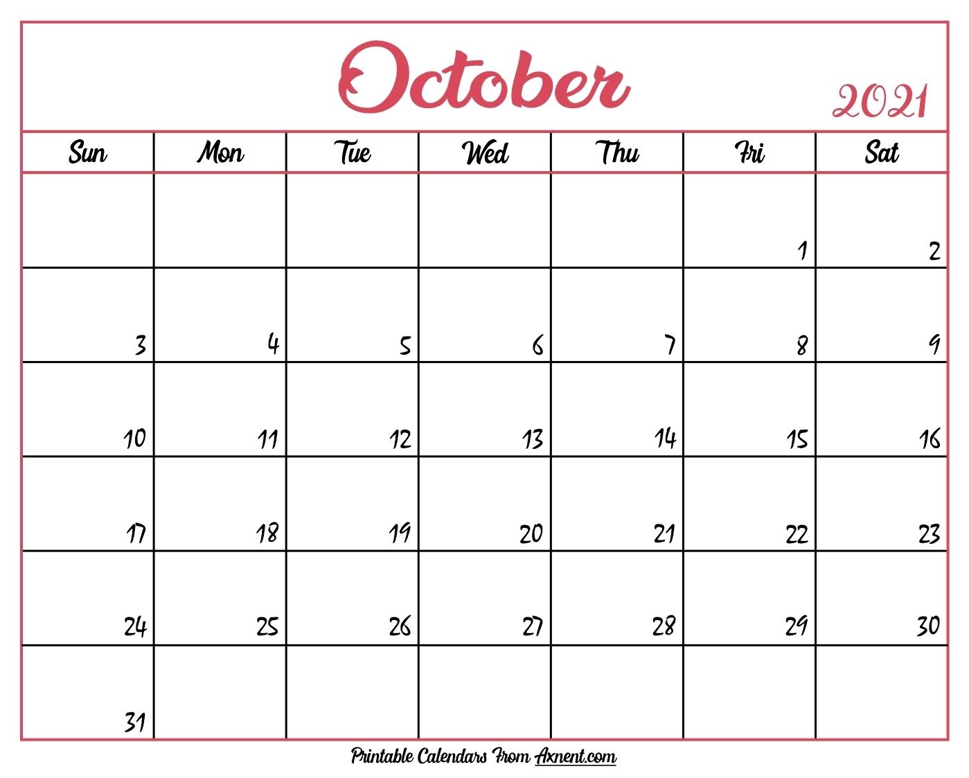 Printable October 2021 Calendar Template - Time Management