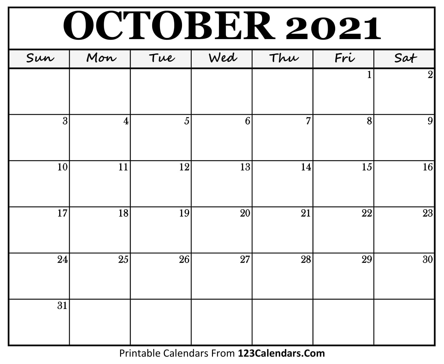 Printable October 2021 Calendar Templates   123Calendars