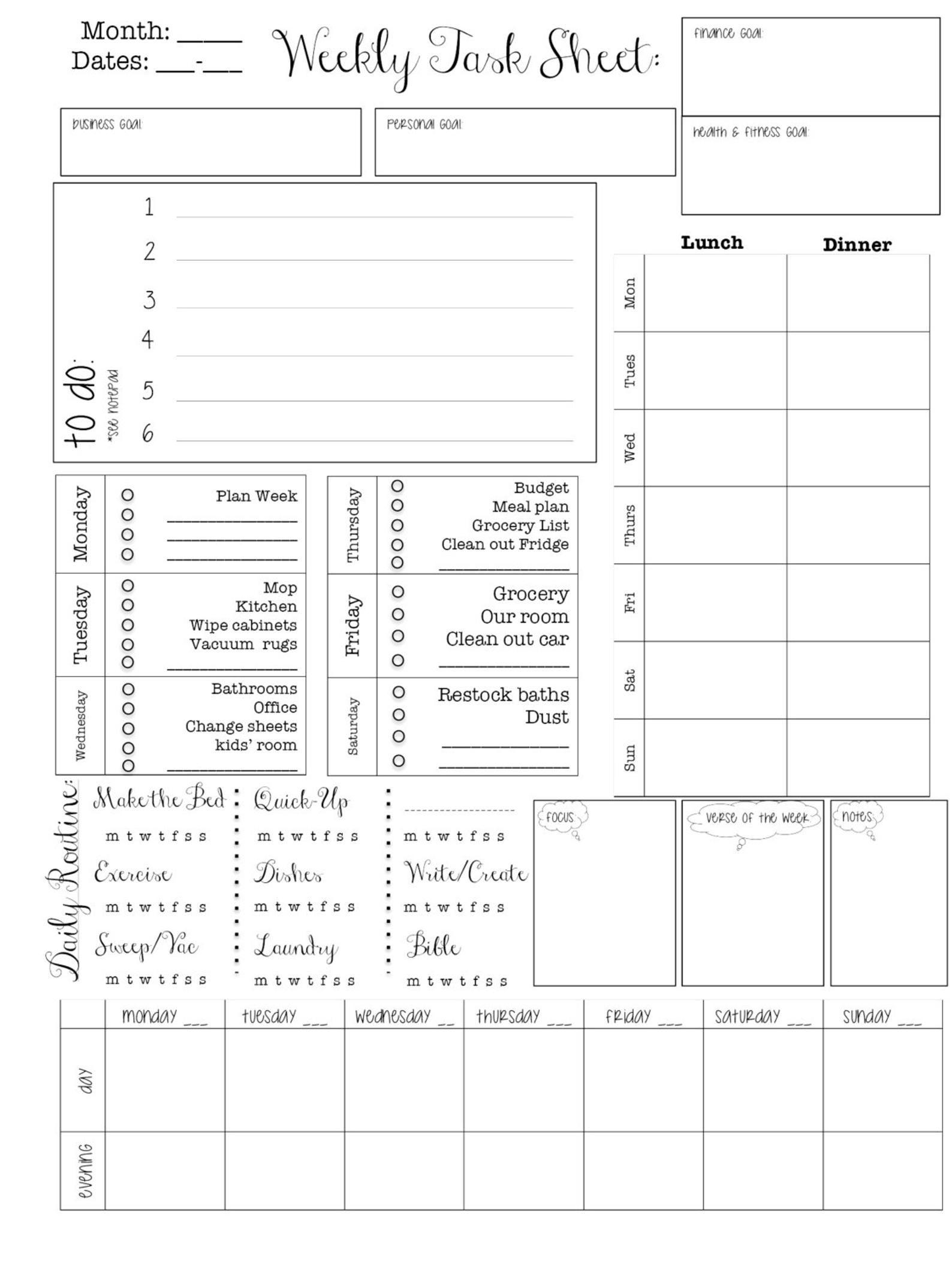 Printable Planner--Editable Planner; Week At A Glance