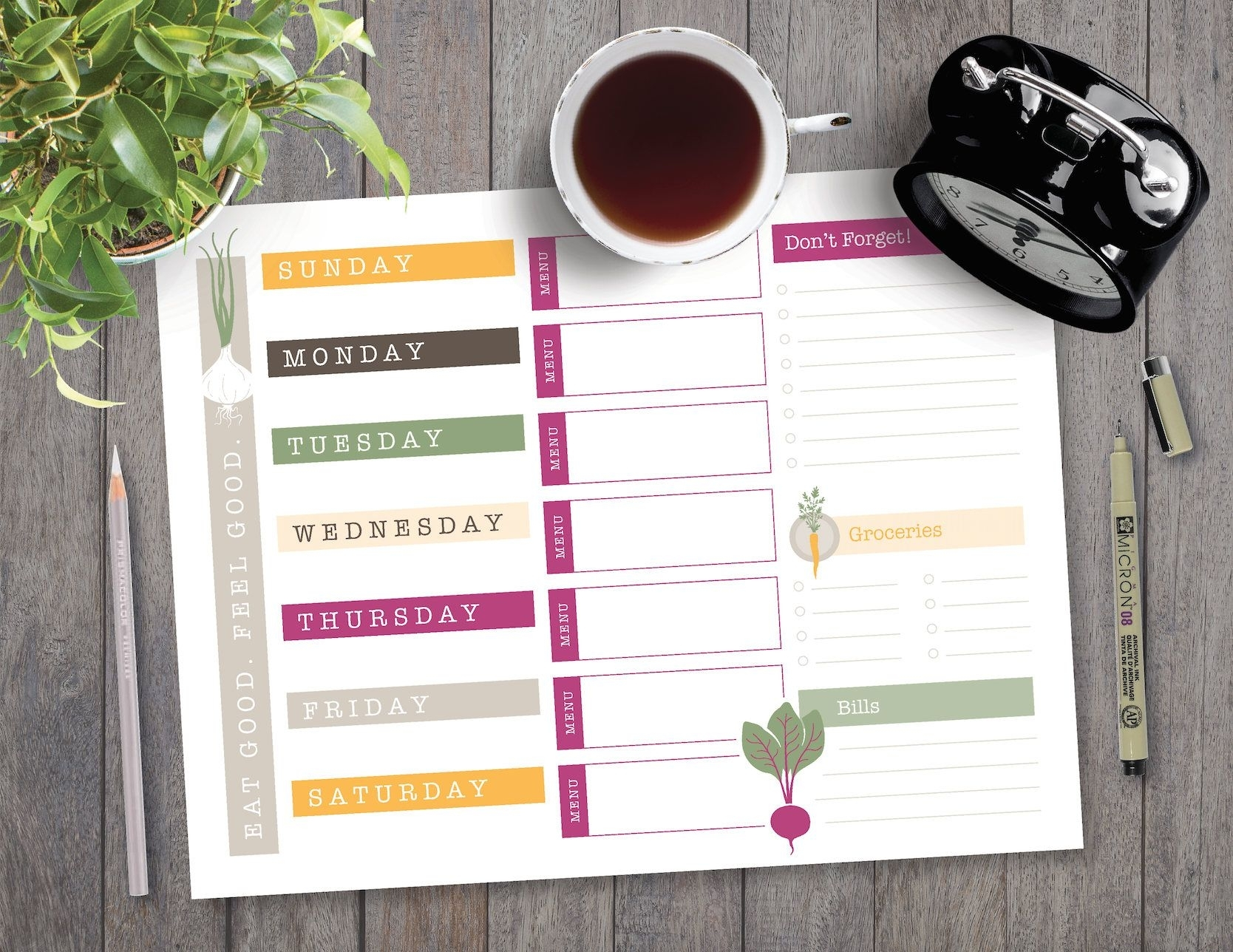 """Printable Planner Page, Us Letter, 8.5"""" X 11"""", Weekly"""