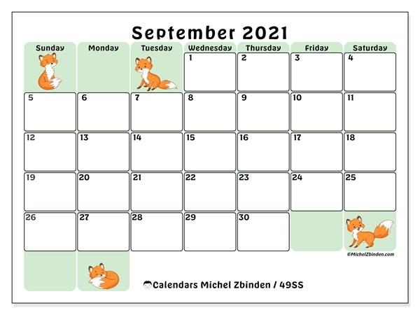 """Printable September 2021 """"49Ss"""" Calendar - Michel Zbinden En"""
