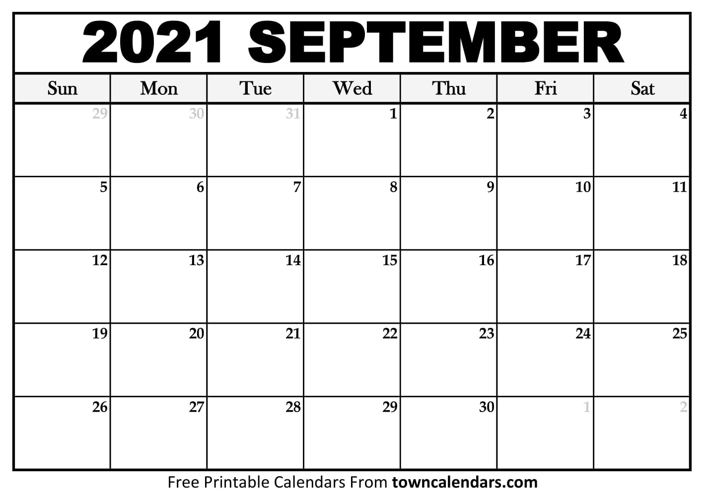 Printable September 2021 Calendar - Towncalendars