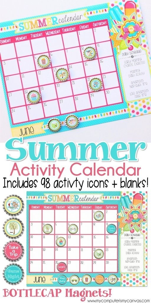 Printable Summer Activity Calendar, Summer Planner, Summer