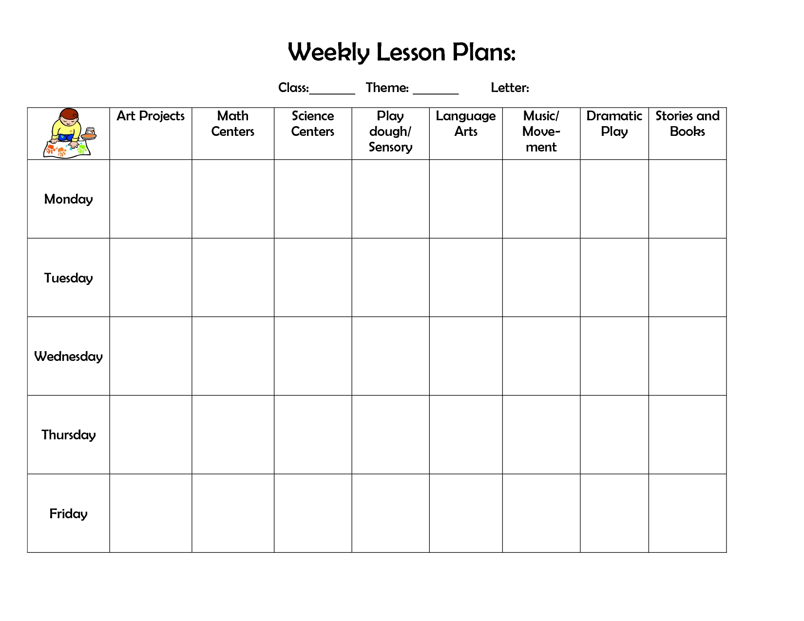 Printable Template Childcare Lesson Plan 2020   Example