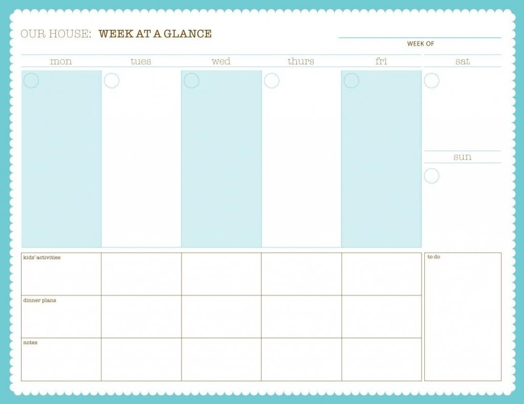 Printable Week At A Glance Calendars - Calendar Template 2021
