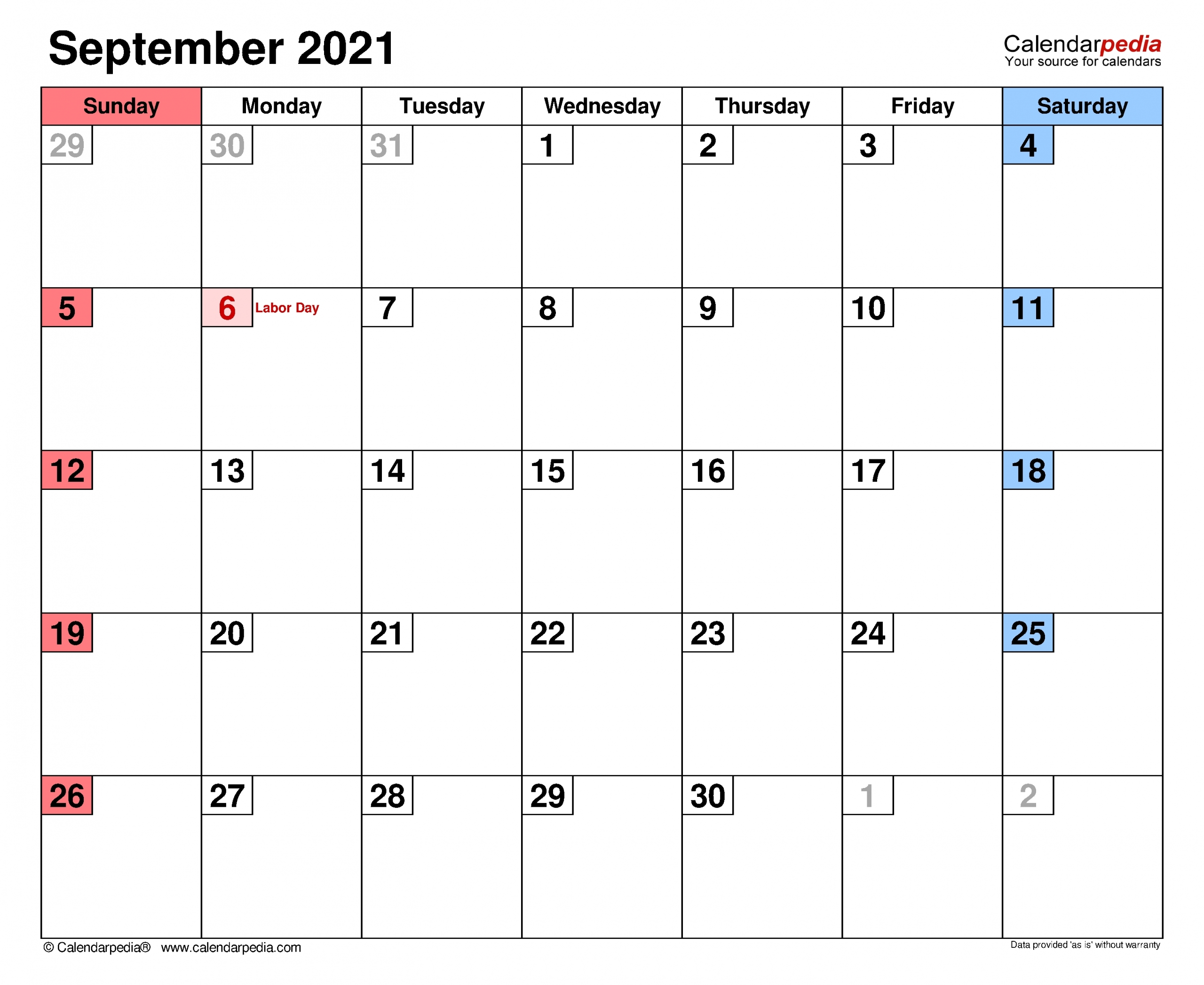 Printable Weekly Map September 2021   Month Calendar Printable
