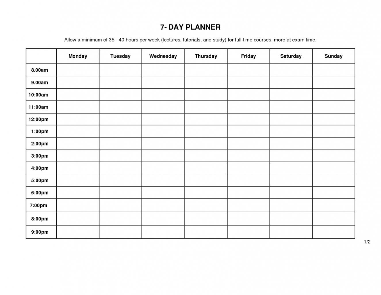 Printable Weekly Schedule Monday Through Friday - Calendar