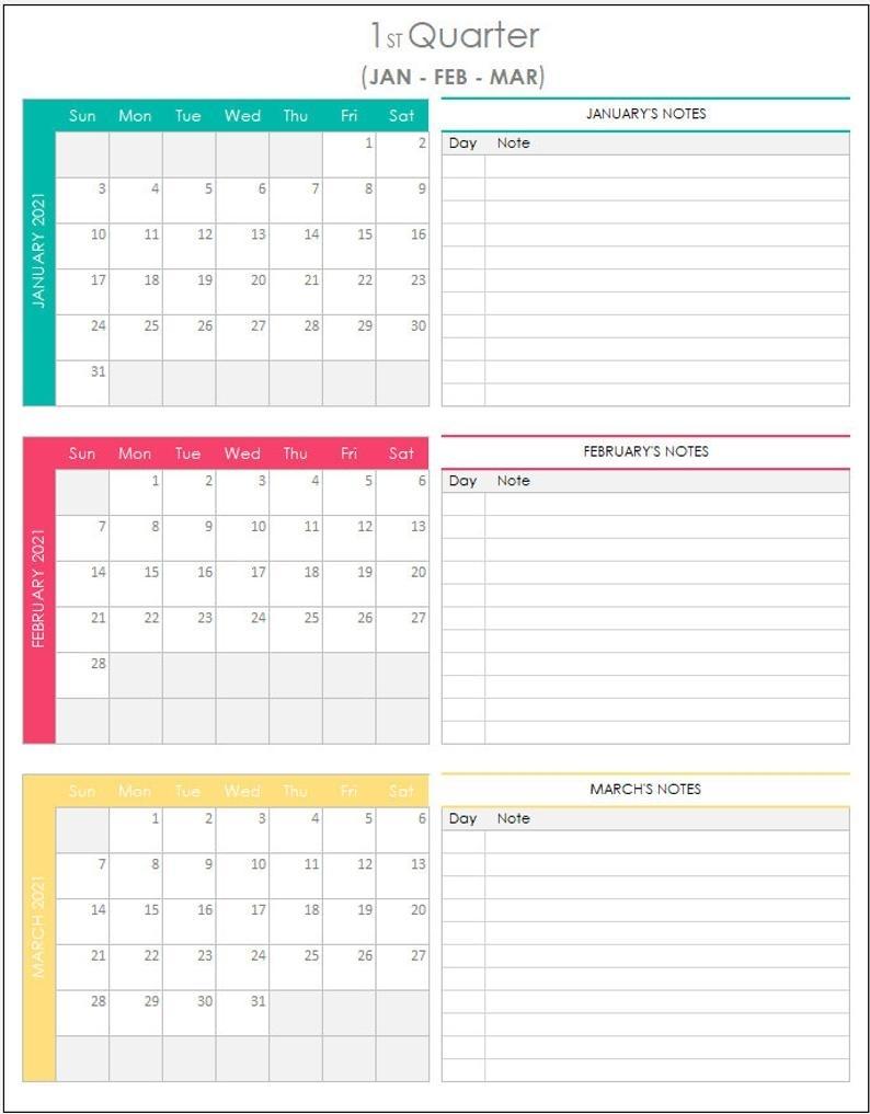 Quarterly Calendar 2021 Excel Template   Etsy