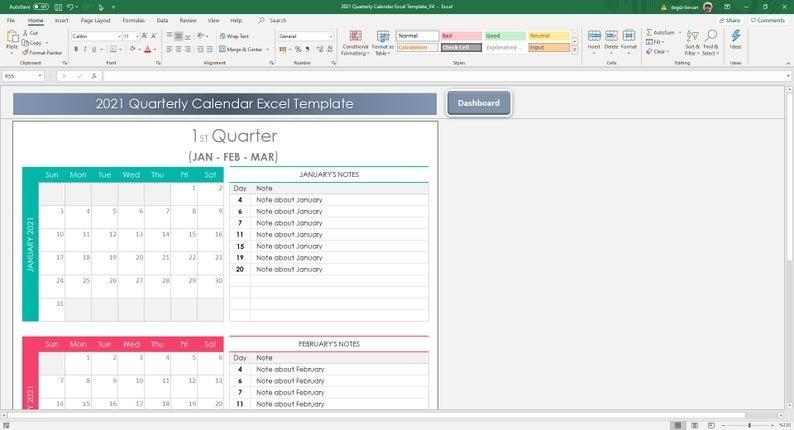 Quarterly Calendar 2021 Excel Template | Etsy