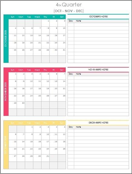 Quarterly Calendar 2021 Excel Template Planner Spreadsheet