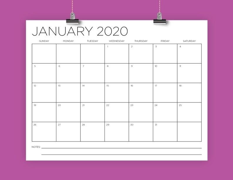 Sale 8.5 X 11 Inch 2020 Calendar Template Instant Download