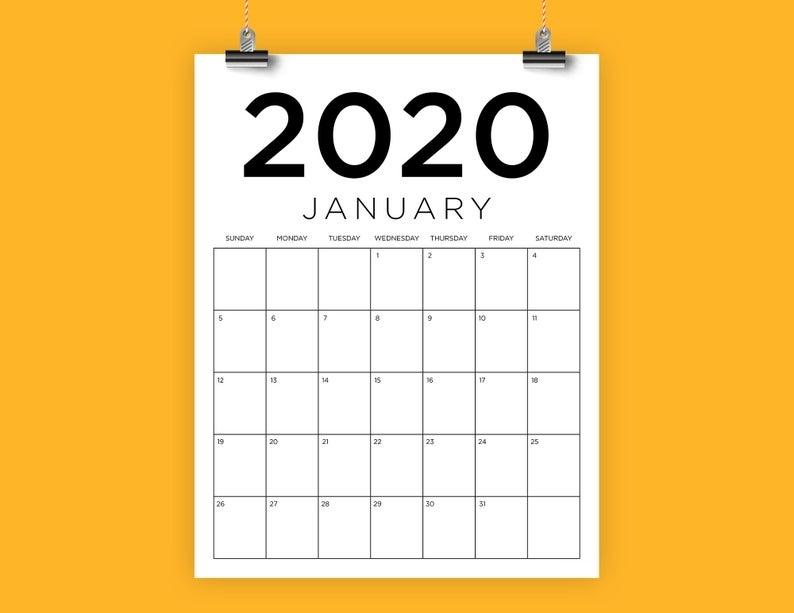 Sale Vertical 8.5 X 11 Inch 2020 Calendar Template Instant