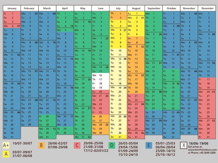 Season Calendar: Cottage 2021
