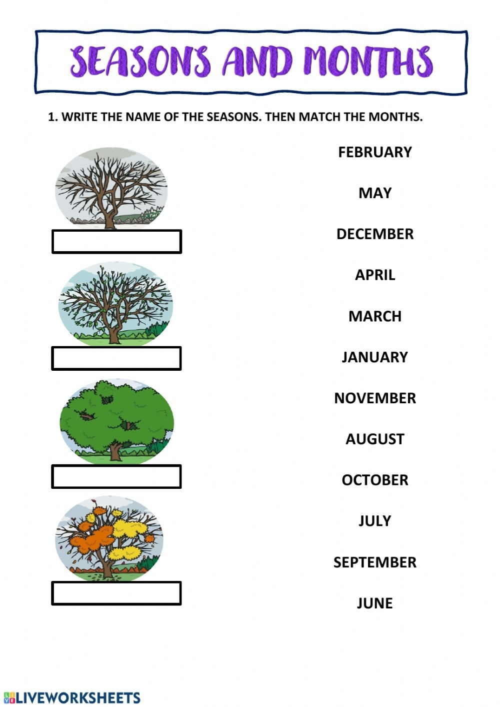 Seasons And Months Interactive Worksheet
