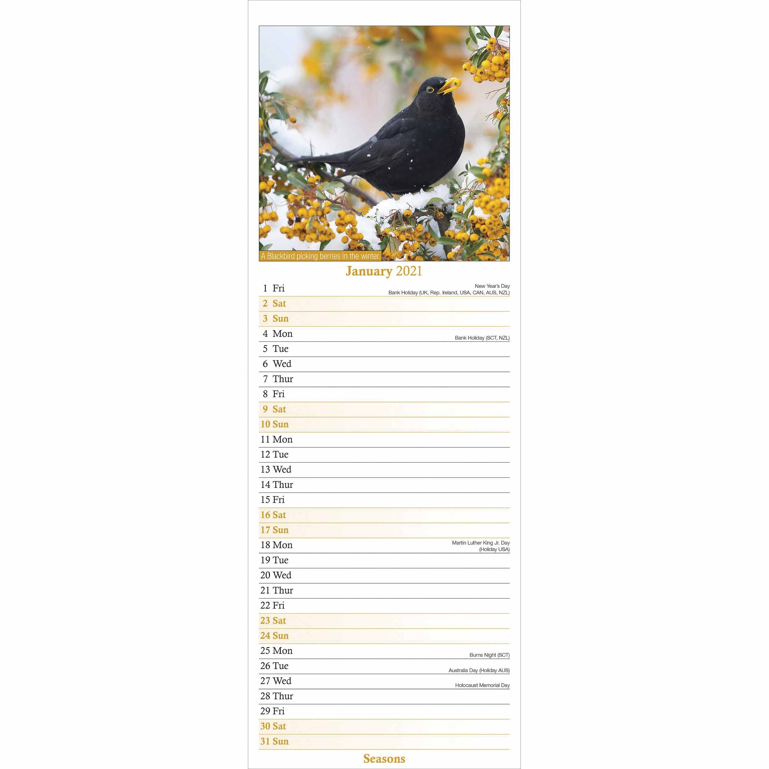 Seasons Slim Calendar 2021 At Calendar Club