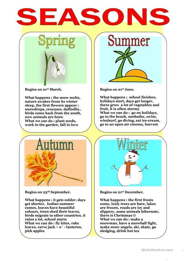 Seasons Worksheet - Free Esl Printable Worksheets Made