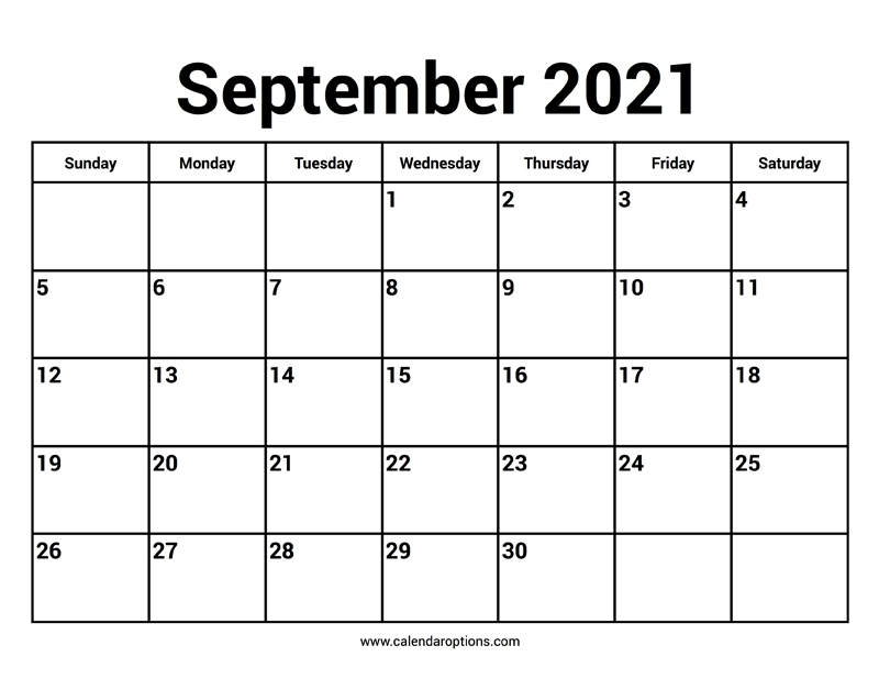 September 2021 Calendar - Calendar Options