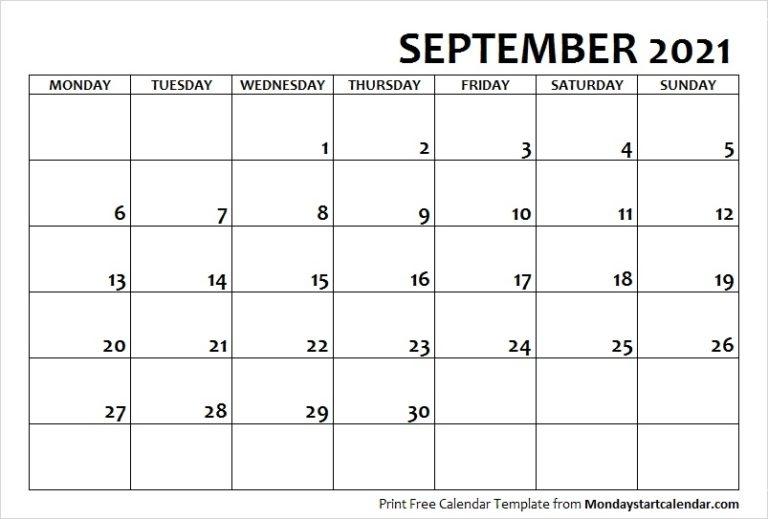 September 2021 Calendar Monday Start   September Month