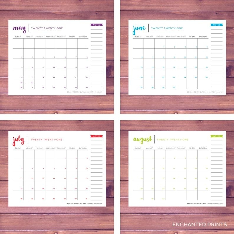 Simple 2021 Printable Calendar 12 Month Calendar Grid | Etsy