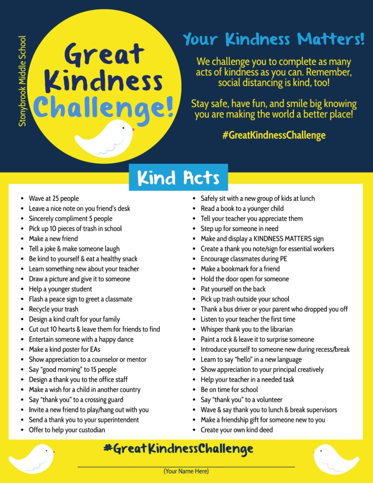 Sms Great Kindness Challenge! | Stonybrook Middle School