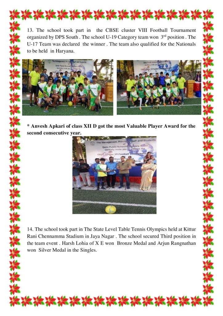 Sports News Letter -October-2018 - Dps Bangalore