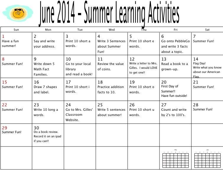 Summer Activities Calendar - Mrs. Klooster'S First Grade