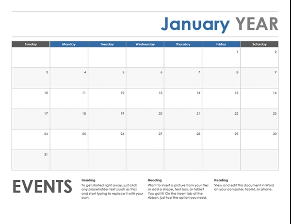 Sunday-Saturday Monthly Calendar Template | Calendar