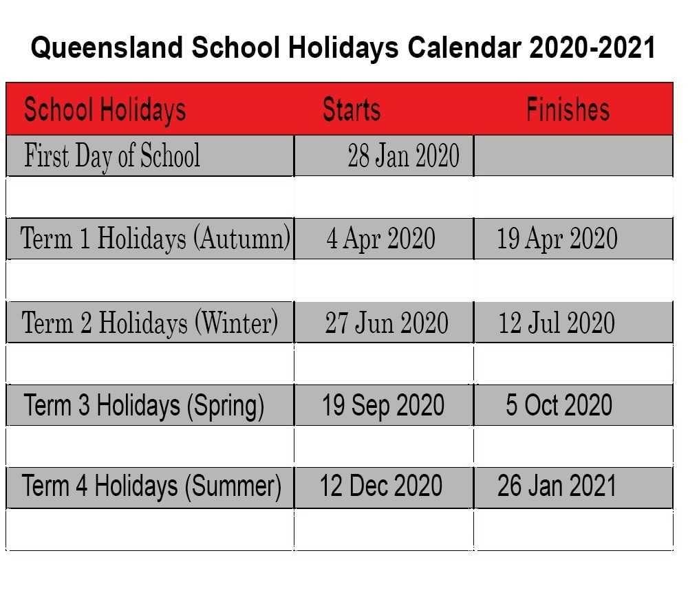 Take 2020 School Calendar Qld | Calendar Printables Free Blank