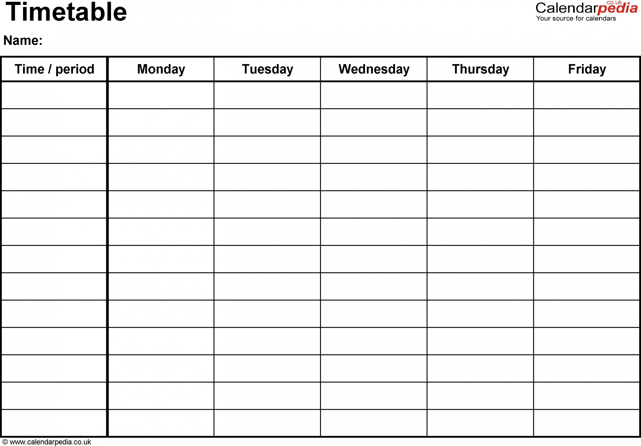Template For Monday To Friday   Calendar Template Printable
