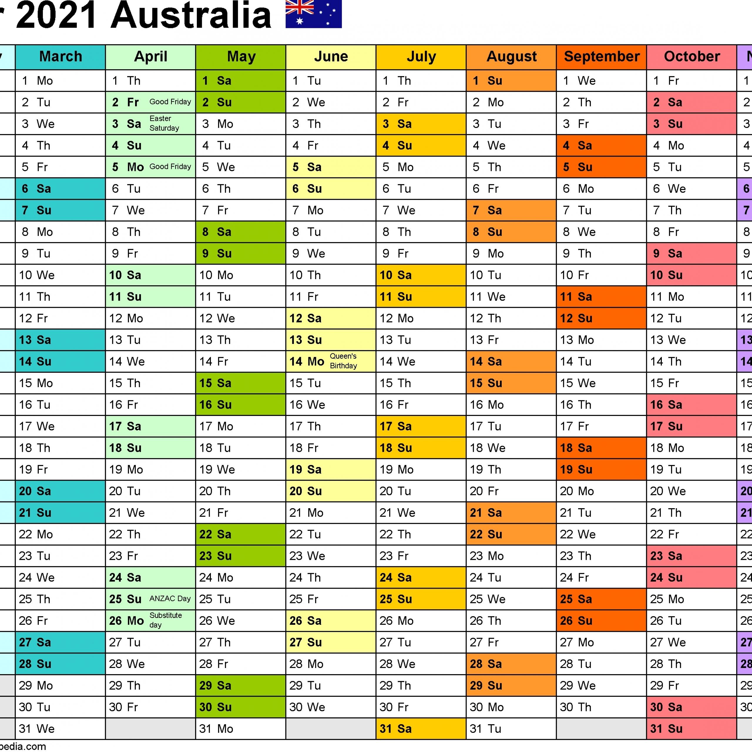 Time And Date Calendar 2021 Australia / Pdf 2021 Calendar