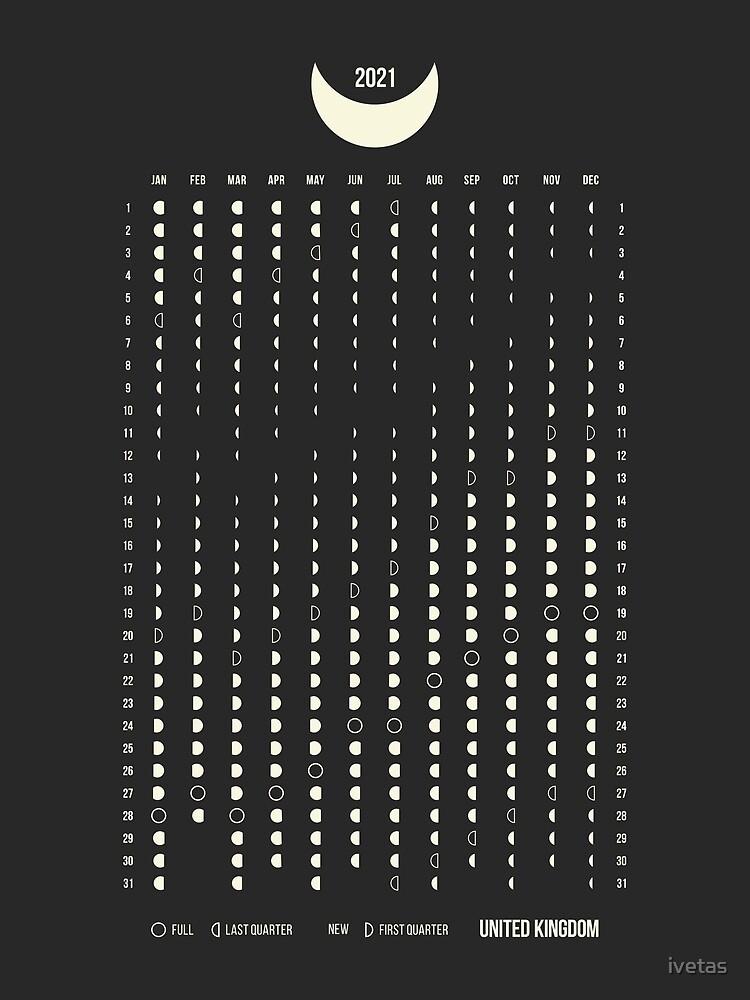 """Uk Moon Phases Calendar 2021"" Art Printivetas   Redbubble"