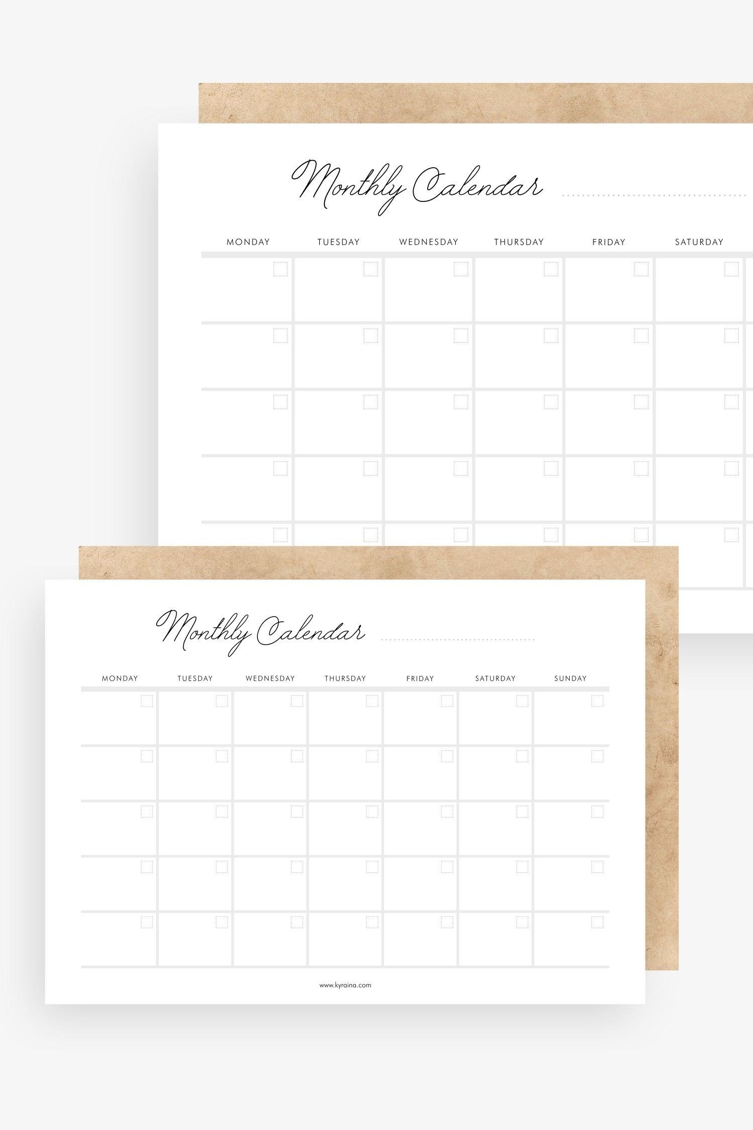 Undated Minimalist Monthly Calendar - 1 Page | Printable