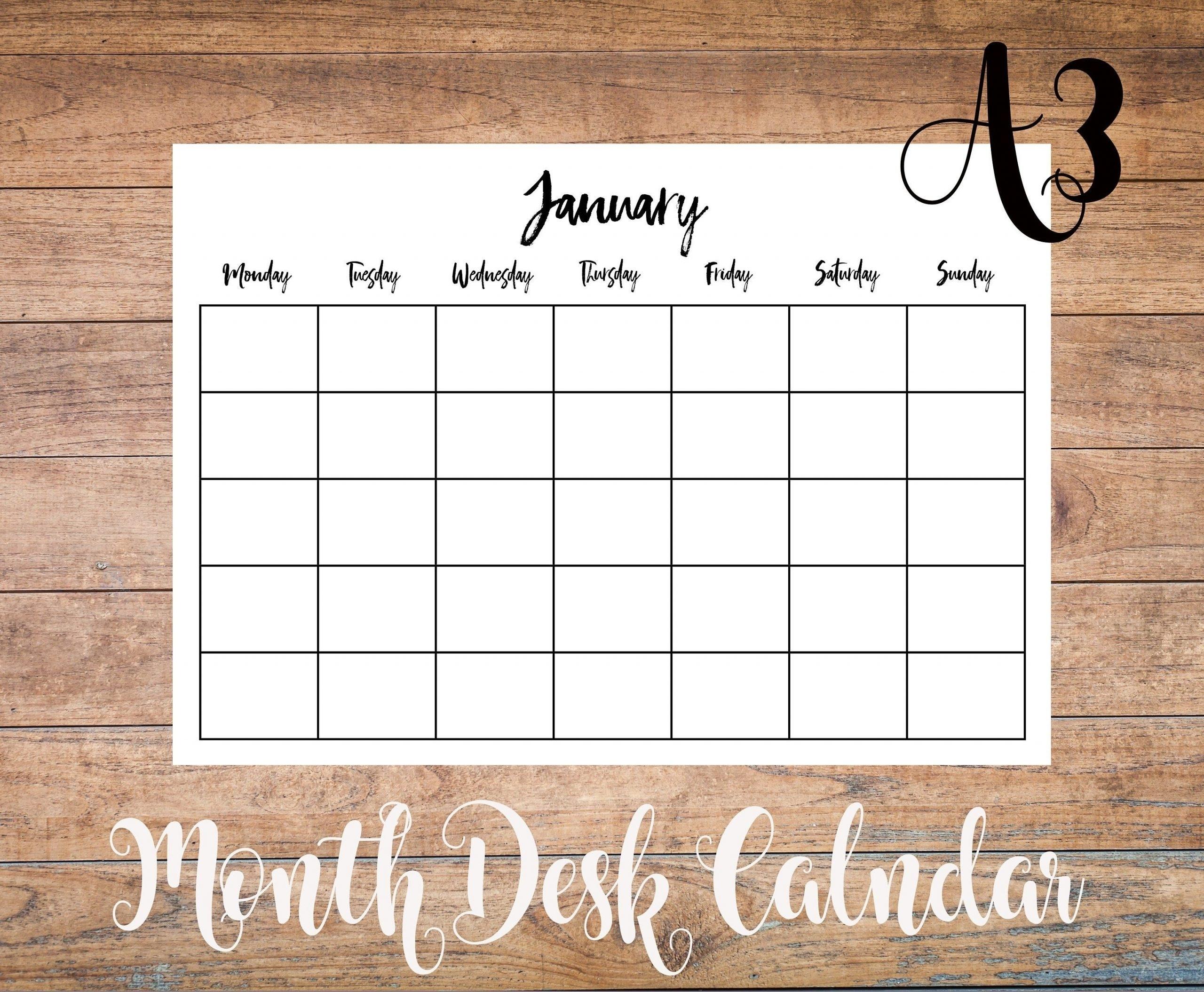 Undated Monthly Calendar Printable A3   Month Calendar