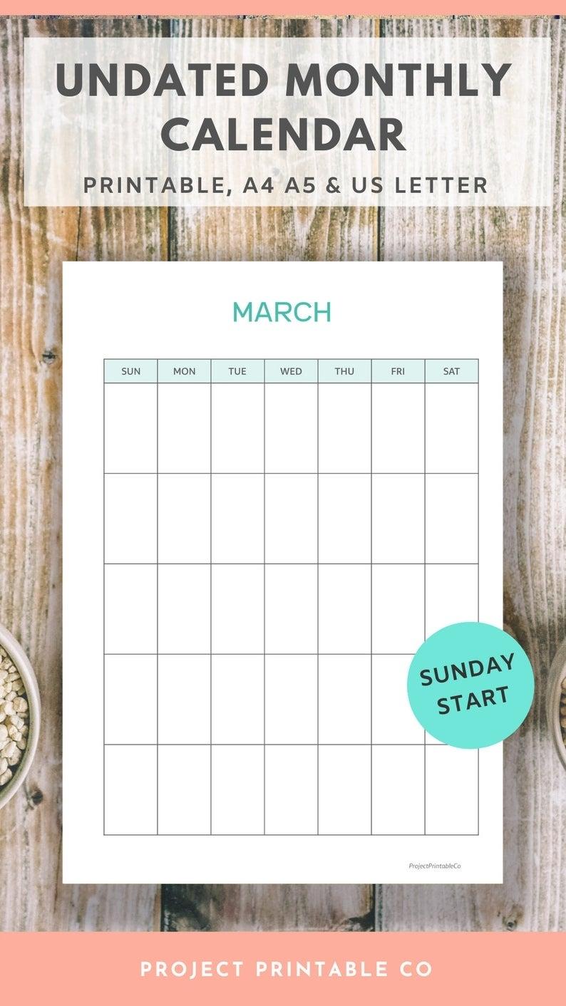 Undated Monthly Calendar Printable Sunday Start Vertical