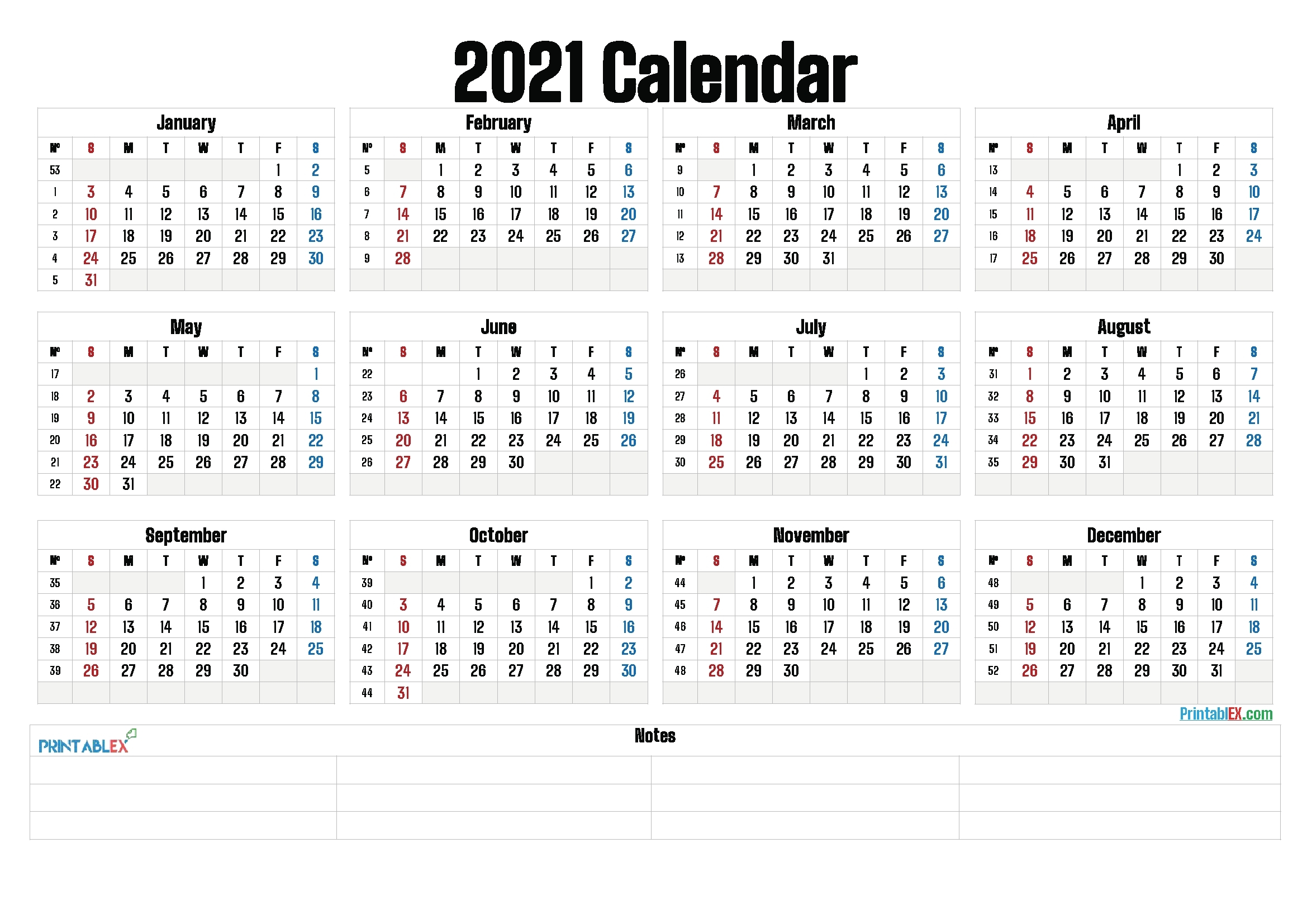 Universal 2021 Calendar With Week Number   Get Your